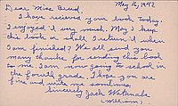 [Postcard to Clara Breed from Jack Watanabe, Arcadia, California, May 16, 1942]