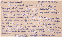 [Postcard to Clara Breed from William Watanabe, Arcadia, California, August 19, 1942]