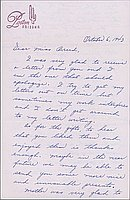 [Letter to Clara Breed from Hisako Watanabe, Poston, Arizona, October 5, 1943]