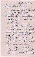 [Letter to Clara Breed form Yaeko Hirasaki, Poston, Arizona, September 16, 1942]