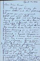 [Postcard to Clara Breed from Margaret Arakawa, Arcadia, California, April 14, 1942]