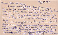 [Postcard to Helen McNary from Jack Watanabe, Arcadia, California, May 20, 1942]