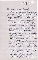 [Letter to Clara Breed from Katherine Tasaki, Arcadia, California, May 16, 1942]