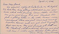 [Postcard to Clara Breed from Fusa Tsumagari, Arcadia, California, April 10, 1942]