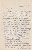 [Letter to Clara Breed from Fusa Tsumagari, April 25, 1942]