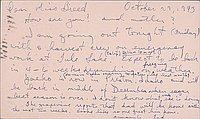 [Postcard to Clara Breed from Tetsuzo (Ted) Hirasaki, Poston, Arizona, October 29, 1943]