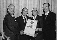 [Los Angeles Supervisors Ernest E. Debs, Burton W. Chace and Kenneth Hahn presenting proclamation to Consul General of Japan, Toshiro Shimanouchi, Los Angeles, California, July 9, 1968]