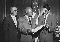 [Presentation to Akira Kikukawa by Los Angeles councilman Gilbert W. Lindsay in City Hall, Los Angeles, California, August 12, 1968]