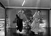 [Miss Moreland taking lessons in Noh dance from Setsuyo Kita of Kita Kai, California, August 23, 1968]