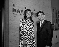 [Miss America Debra Barnes and Mike Yamano in front of Rafu Shimpo building, Los Angeles, California, September 6, 1968]