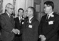 [Four men at Fuji Bank of Japan cocktail party at the Biltmore Hotel, Los Angeles, California, January 30, 1969]