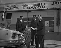 [Alphonzo Bell for Mayor Little Tokyo headquarters, Los Angeles, California, March 15, 1969]