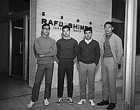 [Four young men in front of Rafu Shimpo building, Los Angeles, California, June 8, 1969]