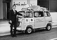 [Expo '70 Goodwill Tour Around the Continent van in front of Rafu Shimpo, Los Angeles, California, June 20, 1969]