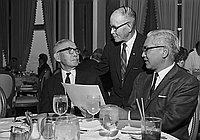 [Consul General of Japan Kanji Takasugi, Shunzo Kido, and Katsuma Mukaeda at Blue Room of Music Center of Los Angeles County, Los Angeles, California, July 8, 1969]