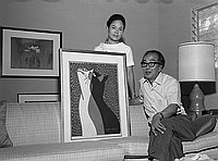 [Hanga artist, Mr. Saito, at Kunimoto home, Los Angeles, California, July 15, 1969]