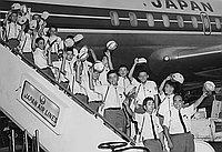 [West Tokyo Chofu boys baseball team arriving at Los Angeles International Airport, Los Angeles, California, August 12, 1969 -- Ichikawa City girls' study group from Japan arriving at Los Angeles International Airport, Los Angeles, California, August 14,