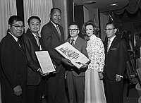 [JUST Testimonial dinner for Dr. Thomas T. Noguchi and defense team, Godfrey and Rowena Isaac, at Biltmore Hotel, Los Angeles, California, August 28, 1969]