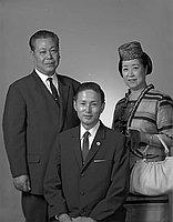 [Shibuya Shibutani and Saburo and Tamako Takagi, half-portrait, Los Angeles, California, October 1, 1969]