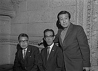 [Ikusaburo Yoshimura, Mr. Kashiwa and Yajuro Kineya at Biltmore Hotel, Los Angeles, California, October 7, 1969]