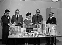 [Vice Consul of Japan, Miyoko Iida, presenting books to UCLA research library, Los Angeles, California, October 20, 1969]