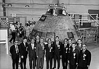 [Delegates of the Tenth Biennial Japanese-American  Conference of Mayors and Chamber of Conference tour Apollo 11 capsule at North American Rockwell Corporation, Downey, California, October 22, 1969]
