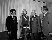 [1969 Miss United States International Gayle Kovaly at the office of the Consul General of Japan, Los Angeles, California, August 12, 1969]