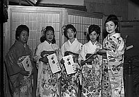 [Jorokusho Kineya at Kawafuku restaurant, Los Angeles, California, January 3, 1970]