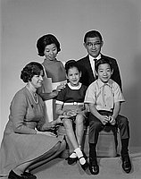 [Espinoza and Takimoto families, portrait, Los Angeles, California, February 7, 1970]