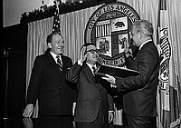 [Sam Ishihara swearing in to City Housing Authority in Mayor's office at Los Angeles City Hall, Los Angeles, California, February 17, 1970]