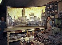 [Seichi Tsuchiya with Bernard Buffett painting at Aberdeen Frame Company, California, April 24, 1970]