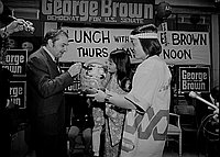 [George Brown for United States Senate Little Tokyo campaign headquarters and fundraiser luncheon at Kawafuku restaurant in Little Tokyo, Los Angeles, California, May 23, 1970]