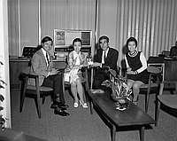 [Mari Sono and Watanabe Puro visiting Bank of Tokyo, Los Angeles, California, June 12, 1970]