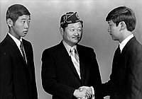 [Two Boys State delegates, with Harry Yamamoto of American Legion Commodore Perry Post, Los Angeles, California, June 13, 1970]