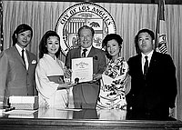 [Los Angeles Mayor Sam Yorty and Japanese singer Mari Sono at Los Angeles City Hall, Los Angeles, California, June 20, 1970]
