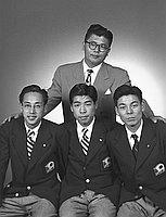 [Teiho Hashida and athletes, Los Angeles, California, May 1, 1951]