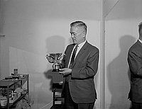 [Mr. Kato holding golf tournament trophy, California, June 1970]