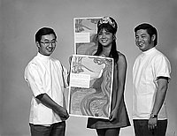 [Nisei Week queen Toni Sakamoto and drug abuse poster, Los Angeles, California, August 13, 1970]