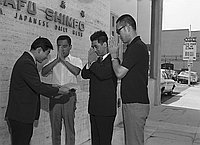 [Shorinji Kempo check presentation to Keiro Home in front of Rafu Shimpo, Los Angeles, California, August 1970]