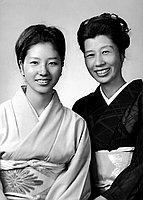 [Yoshitsuki Kikukawa, odori teacher, and daughter, Kumiyoshi Kikukawa, half-portrait, Los Angeles, California, September 24, 1970]
