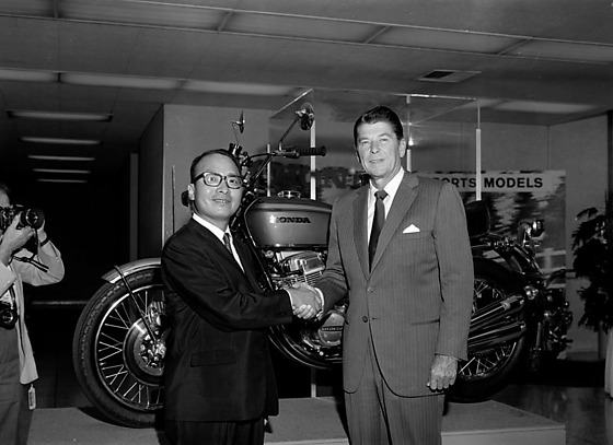 Los Angeles Governor Ronald Reagan Visiting American Honda Motor
