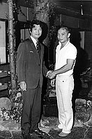 [Mako and Masahiro Shinoda of Hyogensha Productions at Kawafuku restaurant, Los Angeles, California, August 21, 1970]