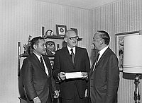 [Japanese American Republicans campaign fundraiser check presentation to GOP, California, October 3, 1970]