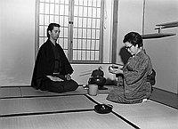 [Duane Feasel preparing tea for Somi Mochizuki at home, Los Angeles, California, December 26, 1970]