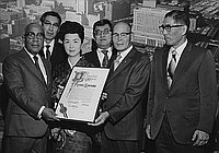 [City Council resolution presentation to Kansuma Fujima by Los Angeles councilman Gilbert W. Lindsay in City Hall, Los Angeles, California, December 22, 1970]
