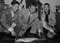 [Dr. Kato, Frank Hirohata and Mr. Takeshita of Sunrise Angling Club, Los Angeles, California, May 28, 1951]
