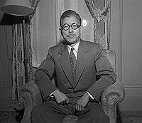 [Takeo Okubo from Japan at Biltmore Hotel, Los Angeles, California, February 10, 1950]