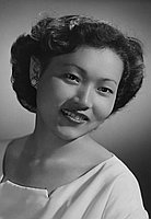 [Tazuko Yamamoto, Nisei Week queen candidate, head and shoulder portrait, Los Angeles, California, June 30, 1951]
