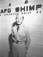 [Kawaguchi in front of Rafu Shimpo, Los Angeles, California, July 5, 1951]