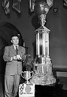 [Hironshin Furuhashi's world record trophy and swim trunks at the Helms Foundation, Culver City, February 10, 1950]